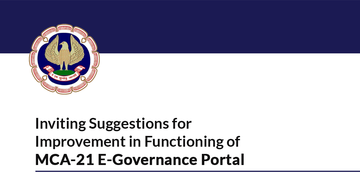 ICAI Invites Suggestions for Improvements In MCA-21 E-Governance Portal