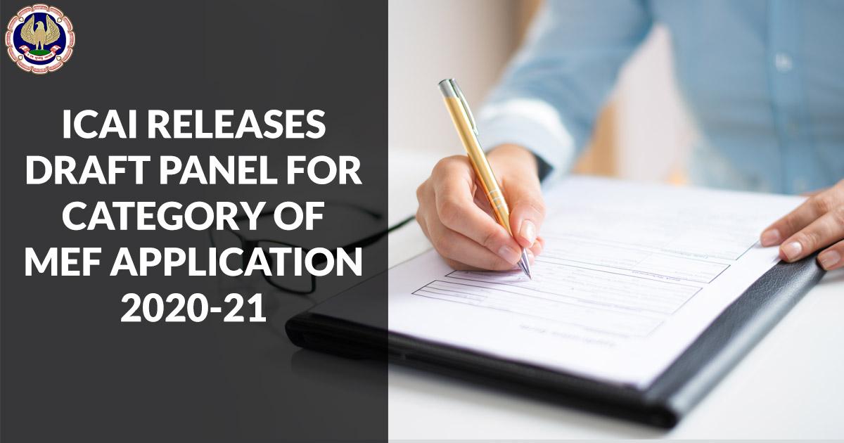 ICAI MEF Application 2020-21